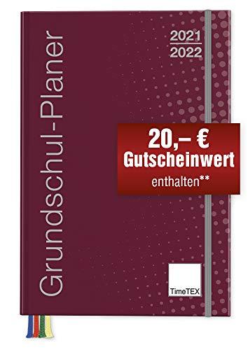 TimeTex Grundschul-Planer A4-Plus bordeaux - Schuljahr 2021 - 2022 - Terminplaner für die Grundschule - Lehrerkalender - Schulplaner - 10716 - Neu: mit breitem Verschlussgummi