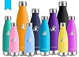 KollyKolla Botella de Agua Acero Inoxidable, Termo Sin BPA Ecológica, Botellas Termica Reutilizable Frascos Térmicos para Niños & Adultos, Deporte, Oficina, Yoga, Ciclismo, (350ml Azul)