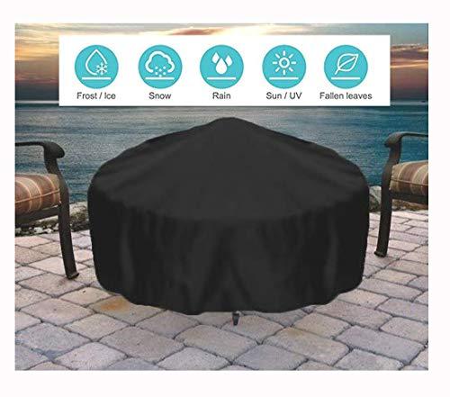 YOUSHENG Dikke zwarte ronde gashaard deksel voor buiten tuin zware ketel deksel open haard grill deksel, waterdicht, duurzaam meubilair cover