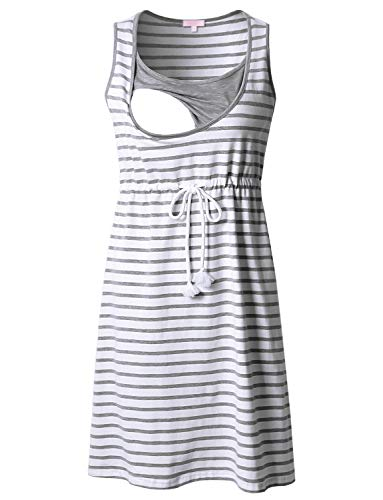 Bhome Sleevless Maternity Nursing Tank Dress Knee Length Grey Striped L