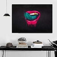 キャンバスペインティング アートセクシーな口唇ポスターとプリント抽象的なキャンバス絵画リビングルームの壁アート現代の家の装飾フレームなし 50x75cm