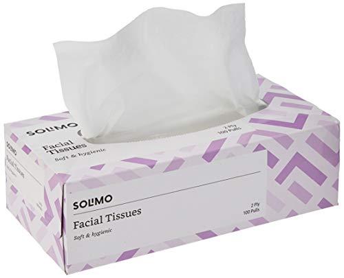 Amazon Brand – Solimo 2 Ply Facial Tissues Carton Box – 100 Pulls