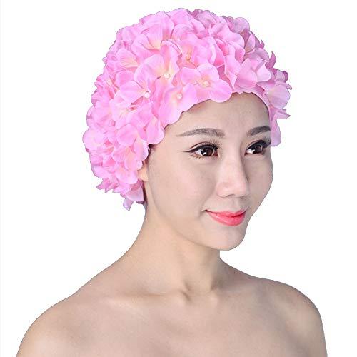 Cuffia da nuoto da donna, retro traspirante, con fiori, cappello da bagno rosa Taglia unica