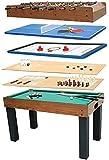 FTFTO Equipo Diario Mesa de futbolín 8 en 1 Que Incluye fútbol/Billar/Hockey/Tenis de Mesa/Backgammon/ajedrez/tejo/Bolos