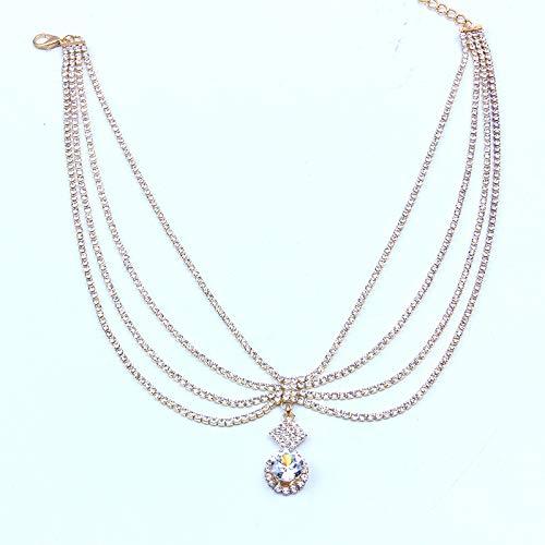 yanming Collar colgante de circonio de múltiples capas de clavícula de diamantes de imitación