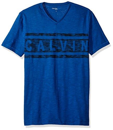 Calvin Klein Jeans Men's Short Sleeve Big Ck Logo V-Neck T-Shirt, Seabed, LARGE