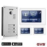 GVS 2-Draht/IP Video Türsprechanlage, 3 Familienhaus Set, Handy-App, 3X 7 Zoll Monitor mit Touchscreen, Tür-Öffner-Fkt, Foto-/Video-Speicher, Unterputz Türstation, 2 MP 170° Kamera, AVS7038-8068-33
