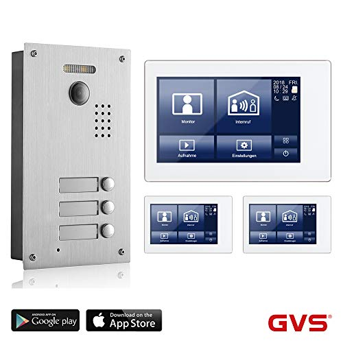 Preisvergleich Produktbild GVS 2-Draht / IP Video Türsprechanlage,  3 Familienhaus Set,  Handy-App,  3X 7 Zoll Monitor mit Touchscreen,  Tür-Öffner-Fkt,  Foto- / Video-Speicher,  Unterputz Türstation,  2 MP 170° Kamera,  AVS7038-8068-33