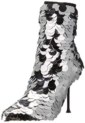 Sergio Rossi Damen-Stiefelette Sr Milano, Paillette, Silber (Silberfarbene Pailletten, schwarzes Neopren), 36 EU