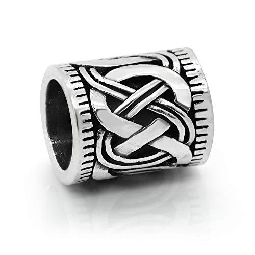925 Sterling Silver Viking Rune Beard Bead Celtic Crossed Knots Norse Rings for Hair, Dreads & Beards, Bead Charm Fit Major Brand Bracelet