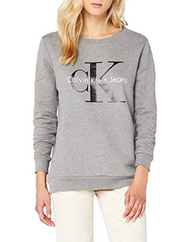 Calvin Klein Jeans CREW NECK HWK-Felpa Donna, Grigio (LIGHT GREY HEATHER 038), 38