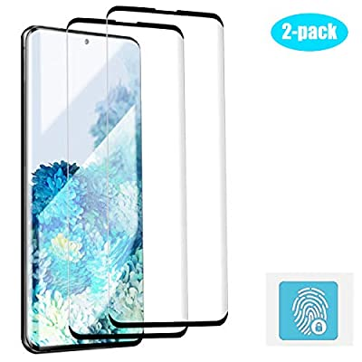 Galaxy S20 Ultra Screen Protector, [2 Pack] Tempered Glass 3D Full Edge Covered/Support Fingerprint Unlock/Anti-Bubble HD Clear/Case Friendly Glass Protector for Samsung Galaxy S20 Ultra