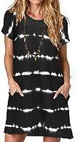Alaster Women's Casual Summer T Shirt Dress Loose Short Sleeve Tunic Dress with Pocket for Women