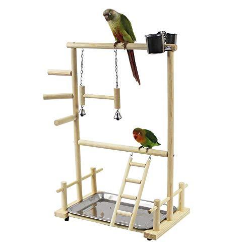 Papegaai Houten Speeltuin, Vogel Speelstandaard, Dubbele Laag Houten Vogel Stand Inclusief Ladder Swing Bell Vogel…
