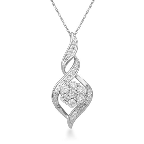 Jewelili 10K White Gold 1/2 CTTW Round White Diamond Twist Pendant Necklace, 18