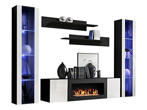 Wohnwand Flyer M2 mit Kamin Bioethanol, Moderne Anbauwand mit Kamineinsatz, Elegante Wohnzimmer-Set, Schrankwand, TV-Lowboard, Wandregal, Vitrine (schwarz/weiß Hochglanz)