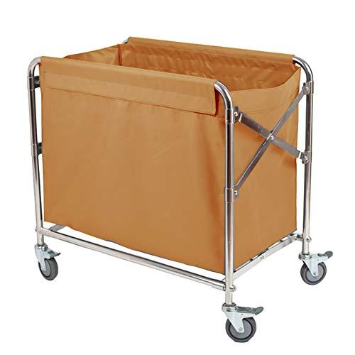Medizinischer Wagen Faltbarer Wäschesortierwagen für Hotel, Leinen-Rollwagen mit Universalbremsrad, Ingwer-Gelb-entfernbarer Deckel
