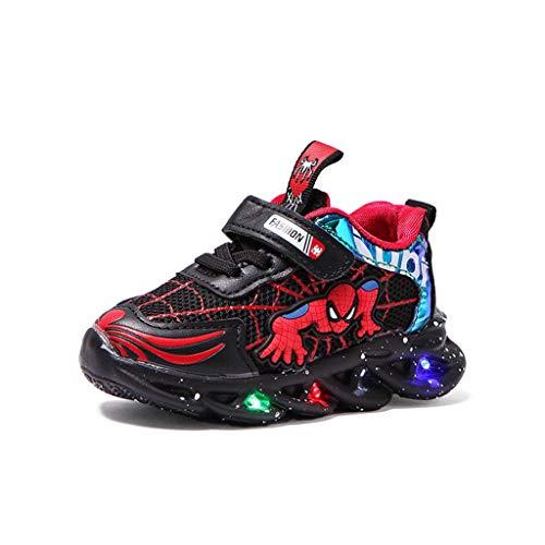 YUANY Enfants Spiderman Dessin animé lumière LED Lumineuse Sport Baskets garçons Maille léger Respirant Chaussures de Course,Black-24 EU