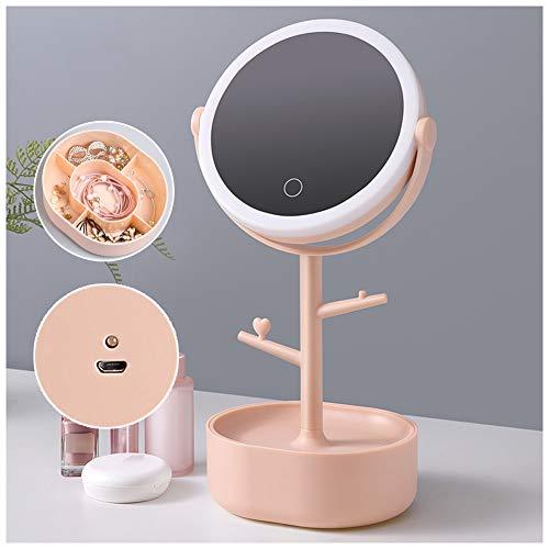 ATRNA Miroir Cosmétique LED, Gradation à 3 Niveaux Miroir Argenté Présentation Claire Coiffeuse Beauté pour Rasage Maquillage Pink