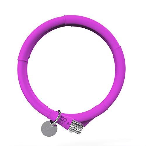 VOLO - Lucchetto antifurto per Bicicletta, in bambù, con Combinazione a 4 cifre, Rivestito in Silicone, Diametro 13 mm x 100 cm, Rose Purple