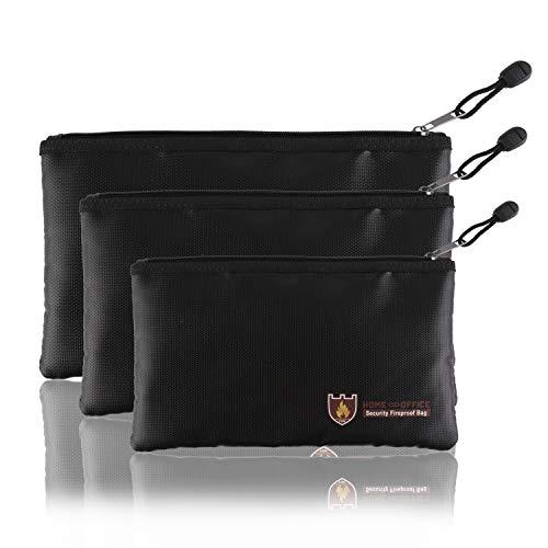 Fellibay Fireproof Document Bags Envelope Holder A4 Size Waterproof Fireproof Bag with Fireproof Zipper for Valuables, Money, Jewelry, Passport, Files Storaging 1Pcs (Small)