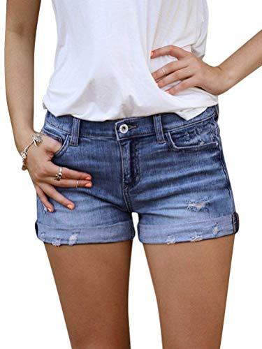 OranDesigne Damen Jeansshorts Sommer Kurze Hose Jeans Ripped Loch Hotpants Shorts Denim Marine Medium