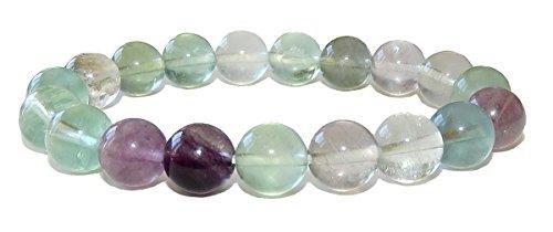 SunnyCrystals 10mm Fluorita Pulsera 03Rainbow Chakras Cristal curación Espiritual energía (Caja de Regalo)