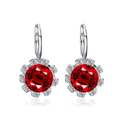 beautijiam Flower Earrings Jewellery for Women Round Shape Faux Crystal Cubic Zirconia Stud Earrings Gifts for Birthday Valentines Day Wife Girlfriend Red