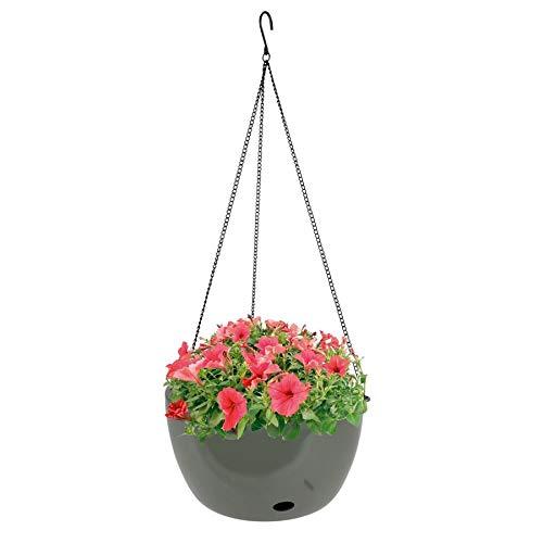 Blumenampel 27,5cm mit Bewässerung Hängeampel Hängetopf Hängeschale Pflanztopf, Farbe:olivgrau