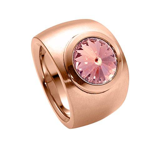 Heideman Ring Damen Coma Verlauf aus Edelstahl Rosegold farbend matt Damenring für Frauen mit Swarovski Stein Kristall Light Rose pink im Fantasie Edelsteinschliff 10mm