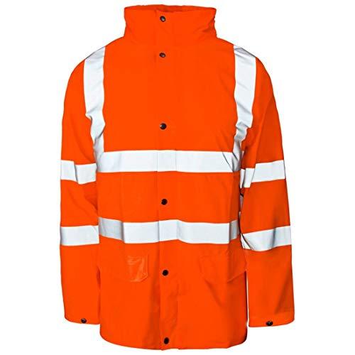 21FASHION. - Chaqueta de Seguridad Impermeable para Hombre con Bolsillo Frontal de Alta Visibilidad Amarillo Naranja XXL