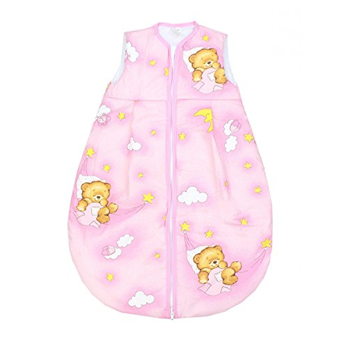 TupTam Baby Schlafsack Wattiert ohne Ärmel ANK001, Farbe: Bärchen Mond Rosa, Größe: 62-74