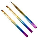 FOMIYES 1 juego de 3 pinceles de uñas Set Nail Art Pen Set Kit de diseño de uñas Colorido Nail Art Liner Brush Extensión de uñas Gel Brush para salón de uñas y en casa DIY