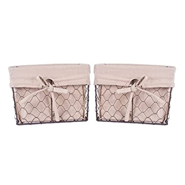 DII Home Traditions Vintage Metal Chicken Wire Storage Basket with Removable Fabric Liner, Set of 2 Medium Sized, Natural