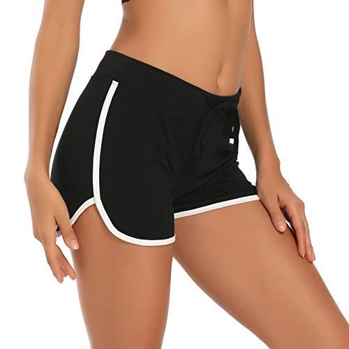 HDE Women's Retro Fashion Dolphin Running Workout Shorts (Black, Medium)