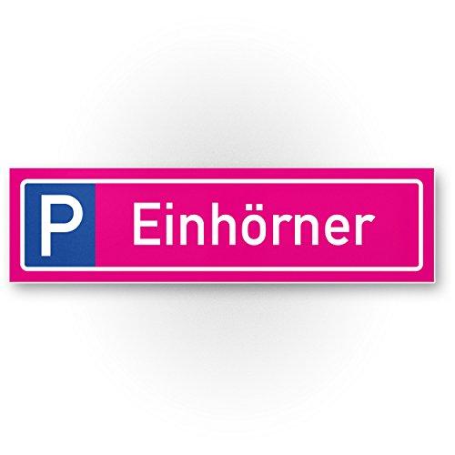 Einhorn Kunststoff Schild Parkplatz nur Einhörner - (30 x 20cm), Pinkes Kunststoff Schild Parkplatz, süße Wanddeko, Geschenk - Deko Türschild Mädchen, Geschenkidee Geburtstagsgeschenk beste Freundin