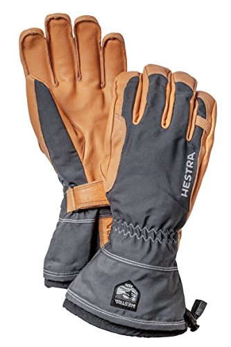 Hestra Winter Ski Gloves: Narvik Wool Terry Removal Liner Leather Gloves, Grey, 6