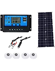 لوحة شمسية، شاحن بقدرة 40 واط مع جهاز تحكم خلوي شمسي مع جهاز تحكم ذكي للبطارية وشواحن بطارية شمسية مضادة للماء مزودة بمدخل USB مزدوج بالطاقة الشمسية