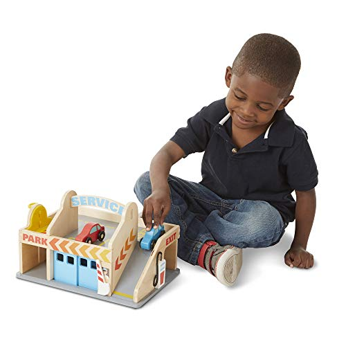 Melissa & Doug Service Station Parking Garage | Wooden Vehicle | Pretend Play | 3+ | Gift for Boy or Girl