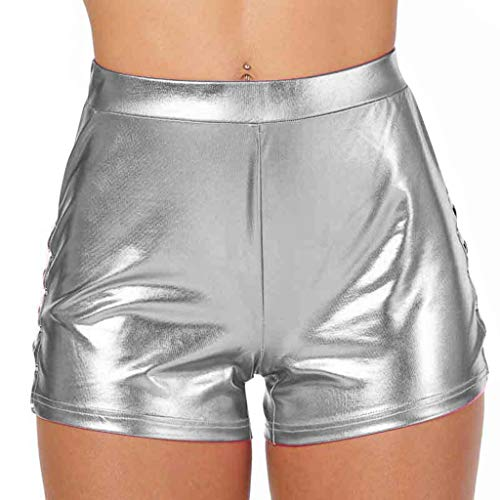TWIFER Damen Sport Gym Hot Pants Metallic Shorts Shiny Leggings Karneval Mittlere Taille Kurze Hose