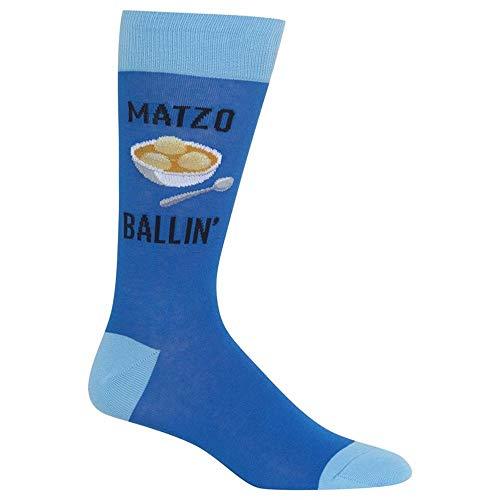 HotSox Mens Matzo Ballin Socks, Blue, 1 Pair, Mens Shoe 6-12.5