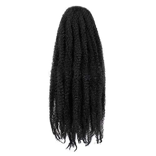 Perruque à Tresse Afro Femme Naturelle BréSilien Long éLastique Wig Sexy Mode Chic Pas Cher SynthéTique Postiches (Noir)