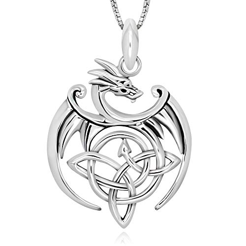 925 Sterling Silver Celtic Dragon Triquetra Trinity Knot Pendant Necklace 18' for Women, Teen