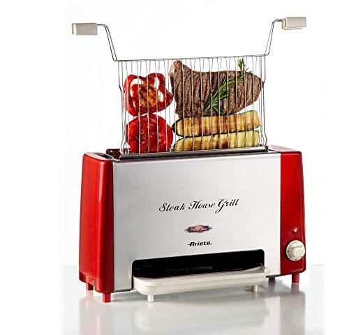 Ariete 730 Steak House Grill, Bistecchiera e griglia verticale, Barbecue elettrico, Griglia inox apribile, 1300 W, Timer 30', Vassoio raccogli grassi, Rosso/Acciaio