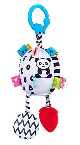Balibazoo, 80137 Balle sensorielle pour bébé en Peluche Douce et câline, Jouet éducatif pour bébé, Cube Doux avec Anneau de Dentition, Cloche et hochet à partir de 0 Mois