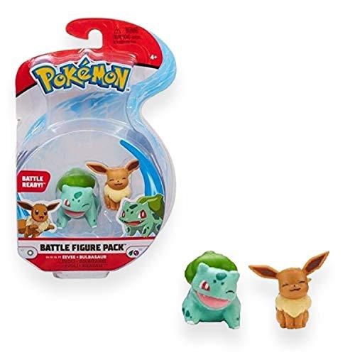 Bandai – Pokémon – Pack de 2 Figuras Battle – Bulbizarre (Bulbasaur) & Evoli (Eevee) – Figuras de 5 cm para coleccionar – WT97886