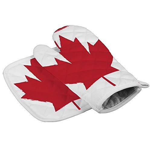 Ofenhandschuhe mit rotem Ahornblatt-Silhouette auf Kanada-Flagge, professionell, hitzebeständig, für Mikrowelle, Grill, Ofen, Isolierung, Verdickung, Baumwolle, Backhandschuhe mit weichem Innenfutter