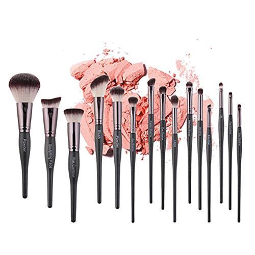 Pinceaux De Maquillage 15 Pcs Maquillage De Brosse, Fibre Artificielle Courbe De Beauté Poignée Pinceau De Maquillage Set Pinceau Poudre, Contour Angled, Kabuki, Fard À Paupières,Noir
