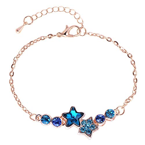 Blue Star Crystal Bracelets for Womens Adjustable Jewellery Birthday Gifts for Her/Ladies/Mum