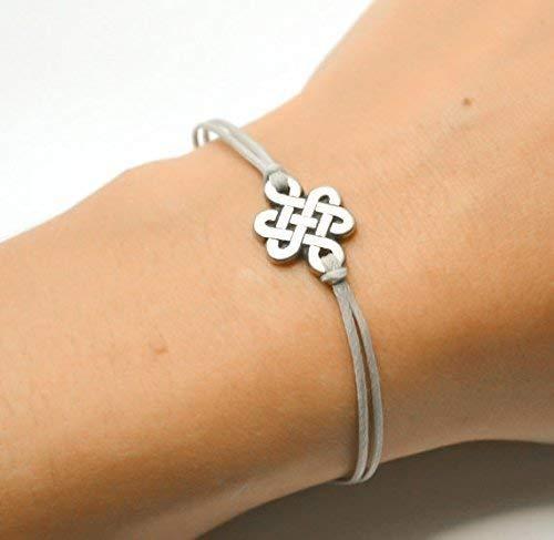 Infinity bracelet, gray cord bracelet with a silver endless knot charm, Yoga bracelet, Tibetan chinese celtic knot, Buddhist bracelet